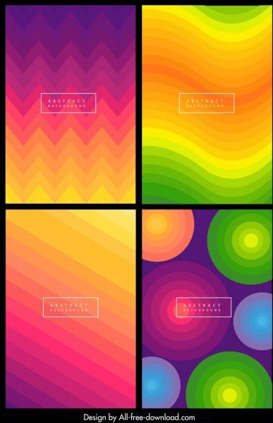 decorative background templates colorful waves circles stripes decor