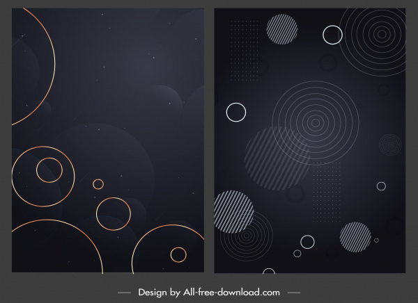 decorative background templates dark modern circles sketch