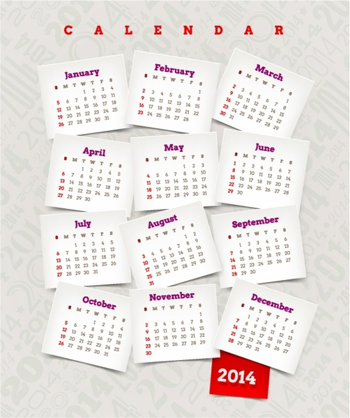 Decorative calendar of 2014 year