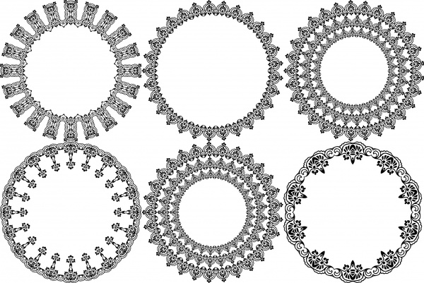 decorative circle sets design with classical border free vector in
