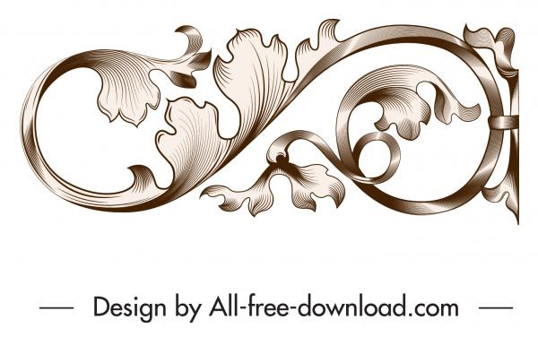 decorative element elegant vintage floral curves sketch