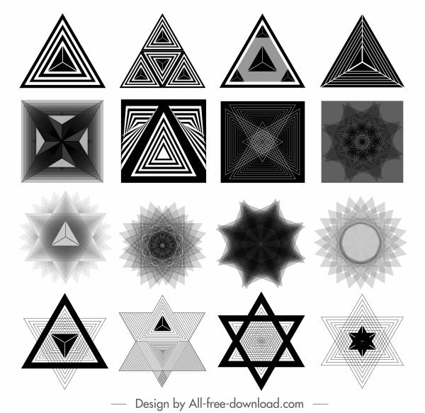 decorative elements black white modern illusive geometric shapes