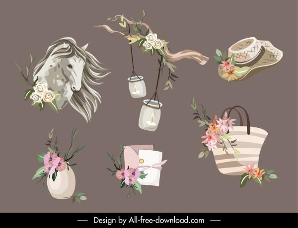 decorative elements elegant classical symbols handdrawn sketch