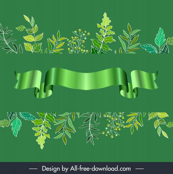 decorative elements green leaves 3d ribbon sketch