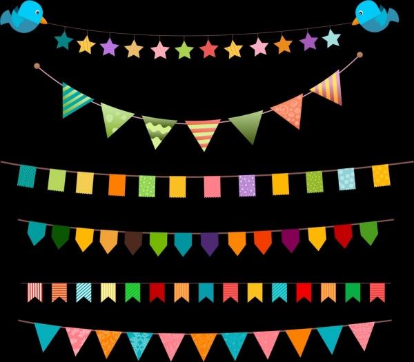 decorative flag ribbon sets various colorful shapes isolation