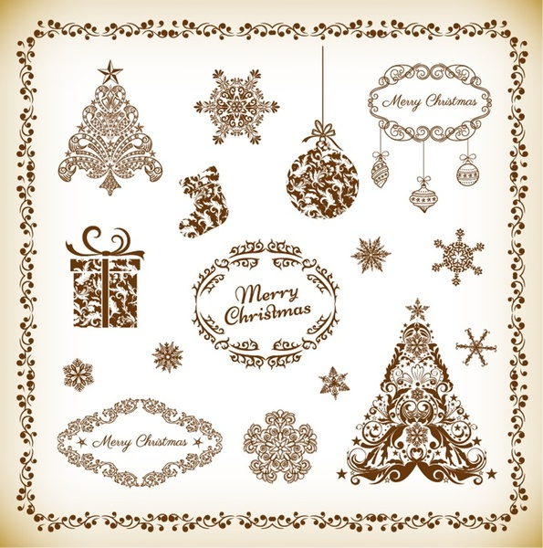 decorative floral elements for christmas vector set