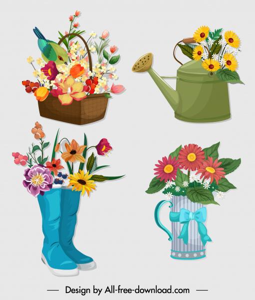 decorative flower icons colorful symbols design