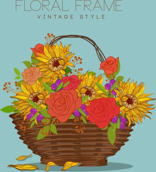 decorative flowers basket drawing multicolored handdrawn sketch