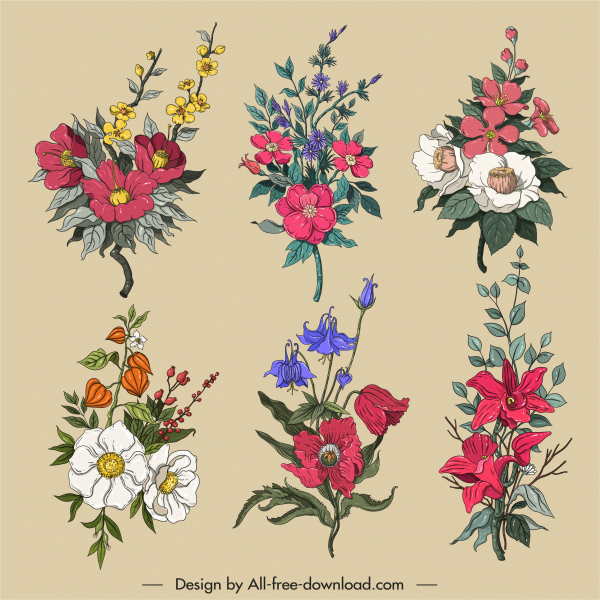 decorative flowers icons colorful classic design