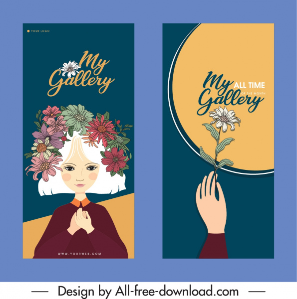 decorative flyer templates girl floras decor retro design