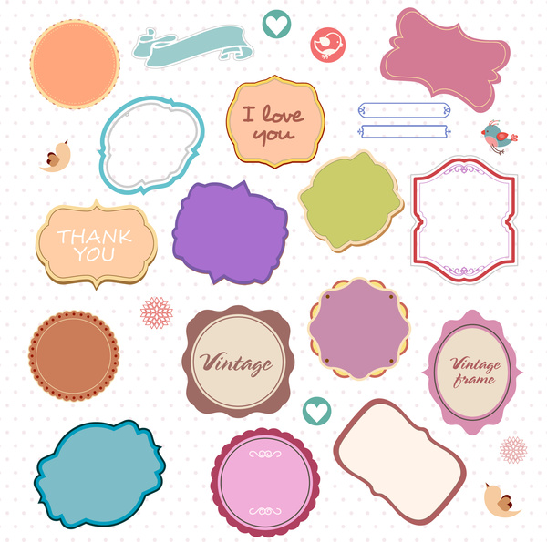 372144b247 Decorative frames collection with various colored shapes Free vector ...