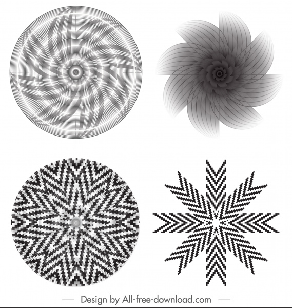 decorative kaleidoscope templates black white dynamic swirled illusion