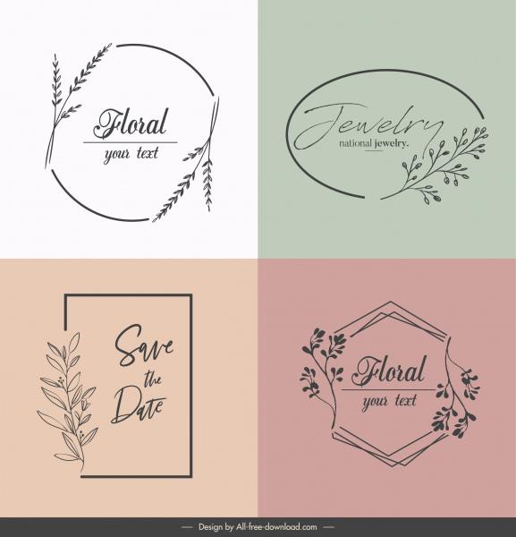 decorative logo templates elegant classic handdrawn flora sketch