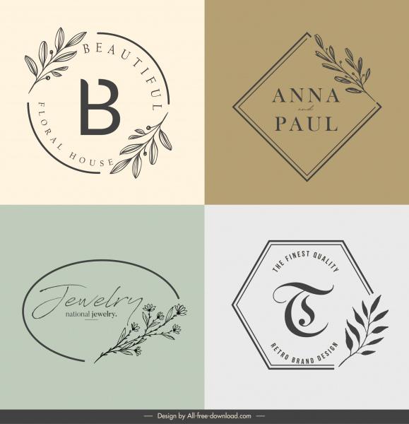 decorative logotypes flat classical handdrawn botany sketch