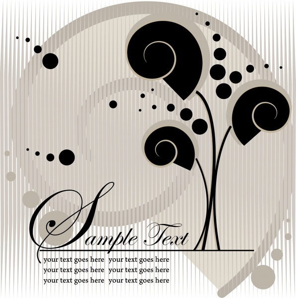card background template black white flat trees sketch