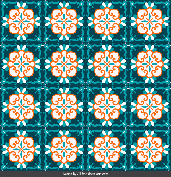 decorative pattern classical symmetric repeating floral sketch