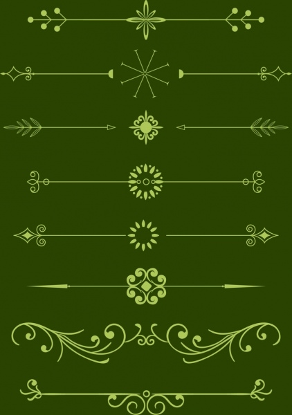 decorative pattern design elements various classical green types