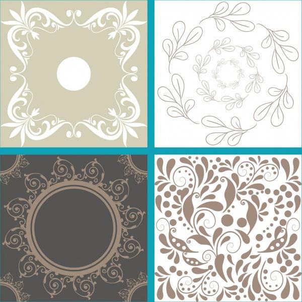 decorative pattern sets classical flower leaf decor