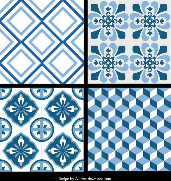 decorative pattern templates blue repeating geometry flora decor