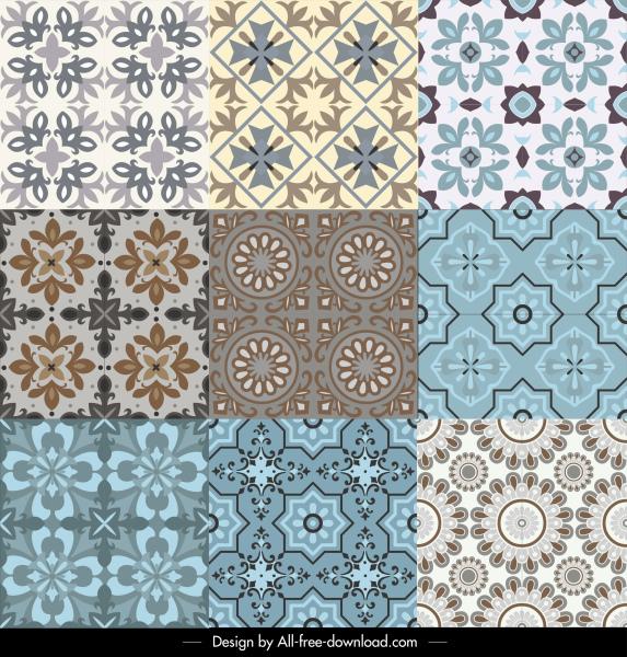 decorative pattern templates colored symmetrical classical petals