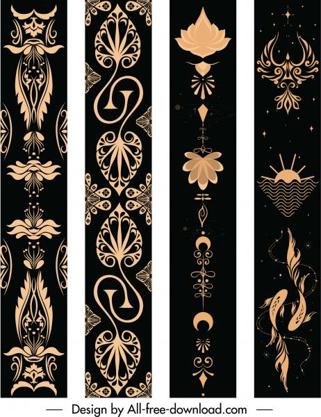 decorative pattern templates dark design retro cultural decor