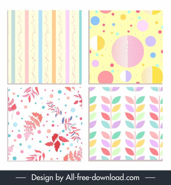 decorative pattern templates pastel design leaves circles sketch