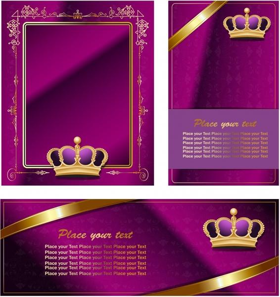 vip card templates crown decor elegant violet golden
