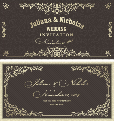 Decorative Pattern Wedding Invitation Cards Vector Set Free
