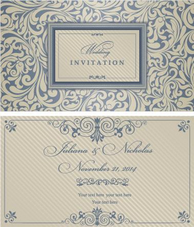 decorative pattern wedding invitation cards vector set
