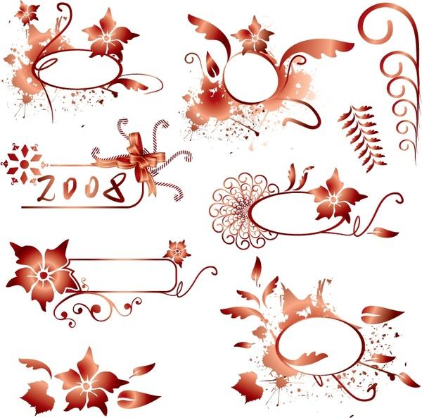 decorative design elements orange flower leaf curves shapes free