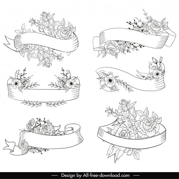 decorative ribbon templates black white floral handdrawn sketch