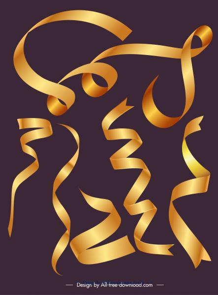decorative ribbon templates modern shiny golden 3d shapes