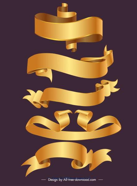 decorative ribbons templates shiny golden 3d shapes
