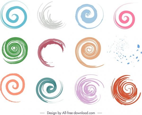 decorative spiral shapes elements colors strokes sketch