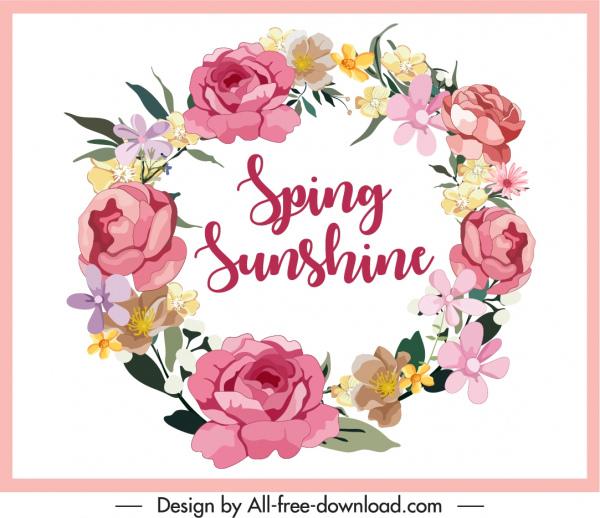 decorative spring background floral wreath sketch