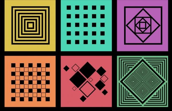 decorative squares background sets colorful flat isolation