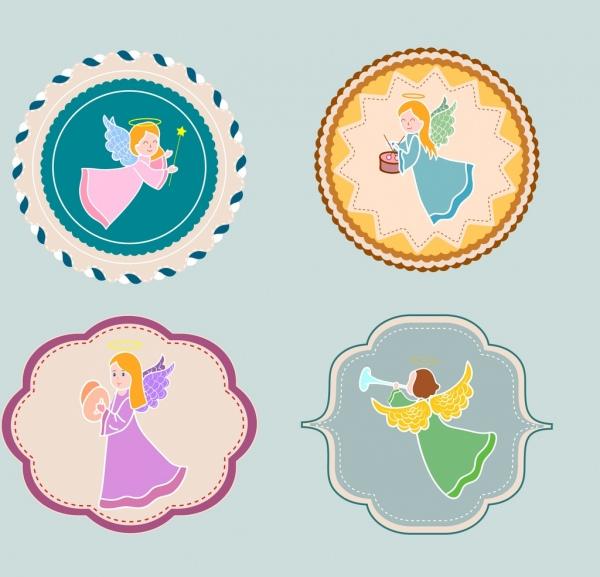 decorative sticker templates female angel icon flat shapes