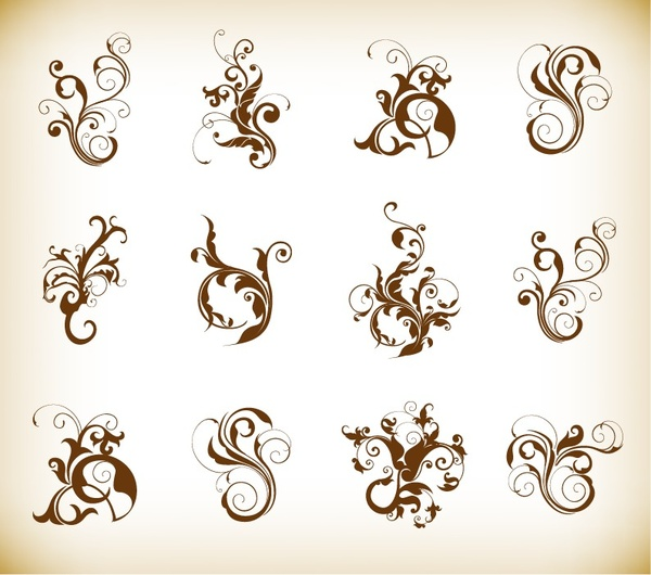 decorative swirl floral pattern elements vector graphics set