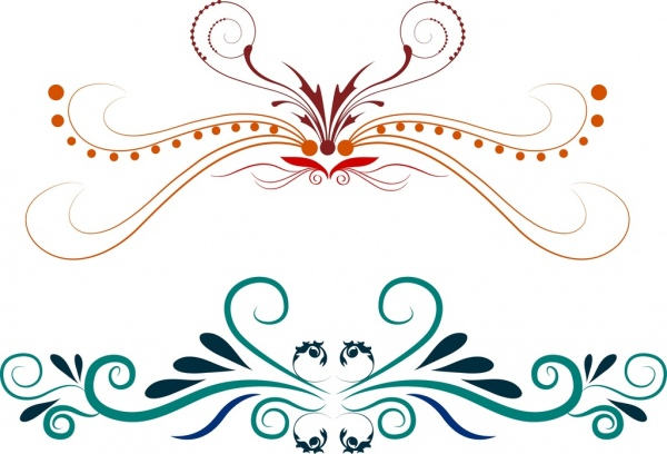 decorative symbol setsclassical colorful curves outline