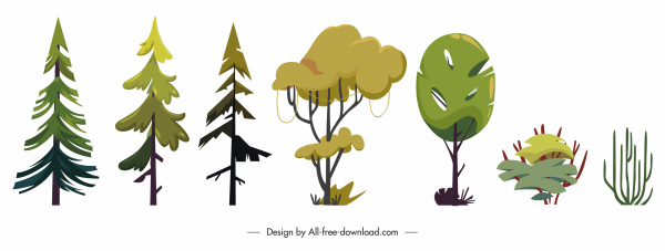 decorative trees icons colored flat shapes sketch