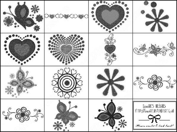 decorative valentine heart and flower brush