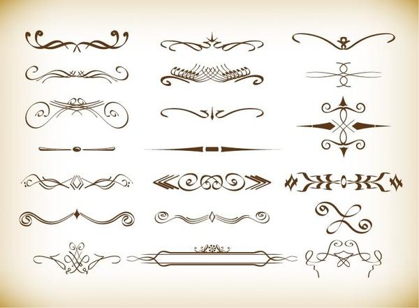 decorative vignette elements set in vintage style vector set