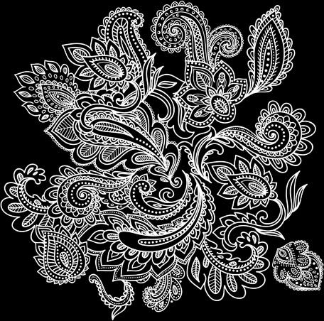 decorative white floral vector