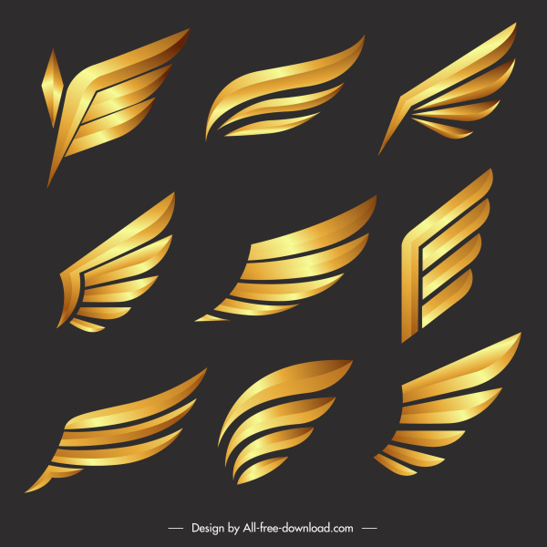 decorative wings icons shiny modern golden sketch
