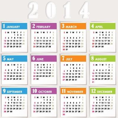 delicate calendar14 year design vector