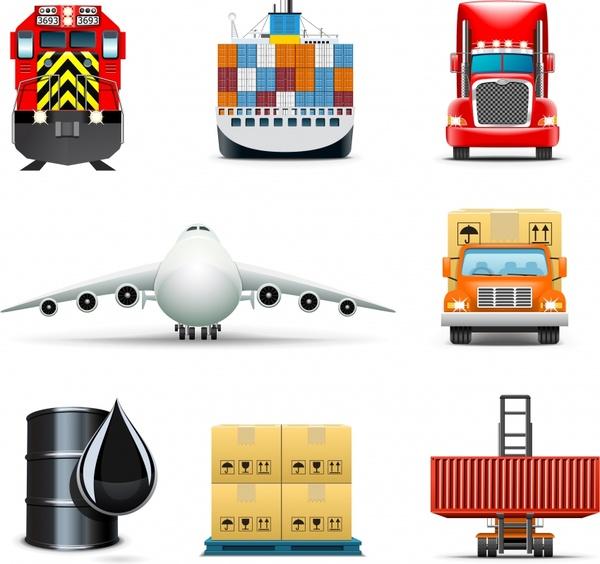 logistics icons goods transportation vehicles sketch modern design