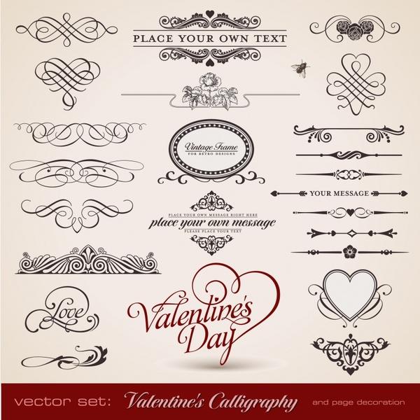 valentines card decorative elements vintage symmetric curves shapes