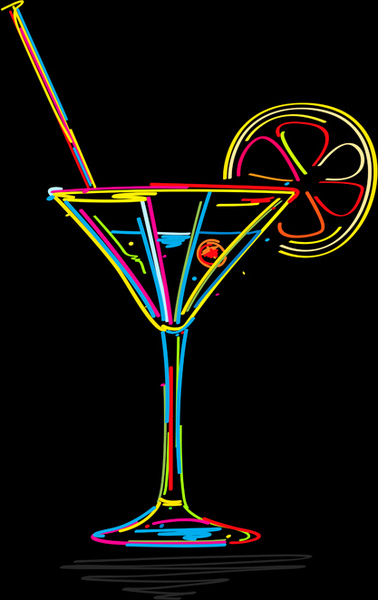 Monthly Calendar Outline : Delicate martini glass vector free in encapsulated