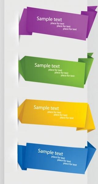 delicate origami label 01 vector