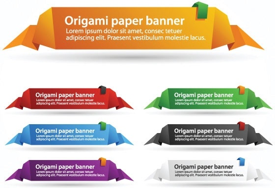delicate origami label 04 vector